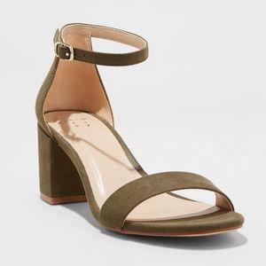 Merona olive green 2in heel sandal